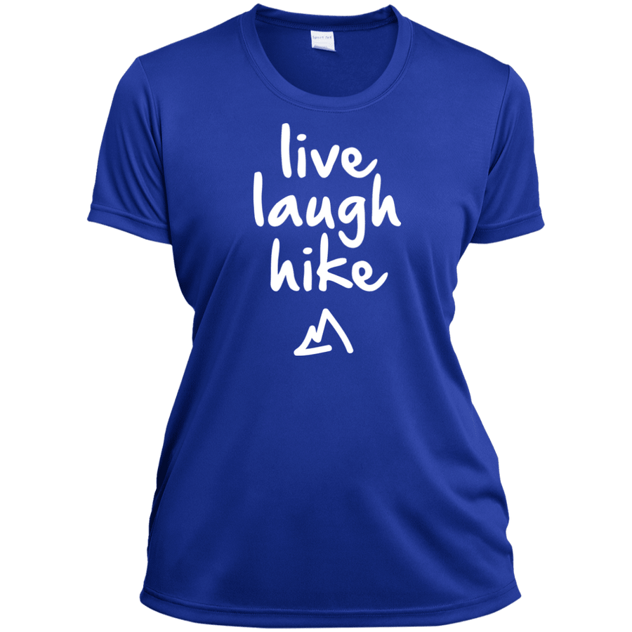 Apparel Ladies Short Sleeve Moisture-Wicking Shirt / Tropical Blue / Small Live Laugh Hike - Athletic Tee