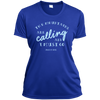 Apparel Ladies Short Sleeve Moisture-Wicking Shirt / True Royal / Small The Mountains are Calling and I Must Go. - John Muir - Athletic Tee