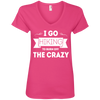 Apparel Ladies' V-Neck Tee / Hot Pink / Small I Go Hiking to Burn off the Crazy! V-Neck Tee