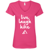 Apparel Ladies' V-Neck Tee / Hot Pink / Small Live Laugh Hike - V-Neck Tee