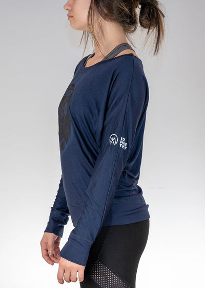 Apparel .Say Yes to Adventure! Flowy L/S Off Shoulder Tee - Midnight