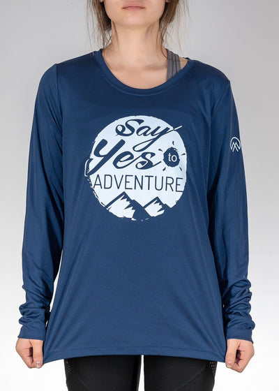 Apparel .Say Yes to Adventure! Long Sleeve - Sport Dark Navy