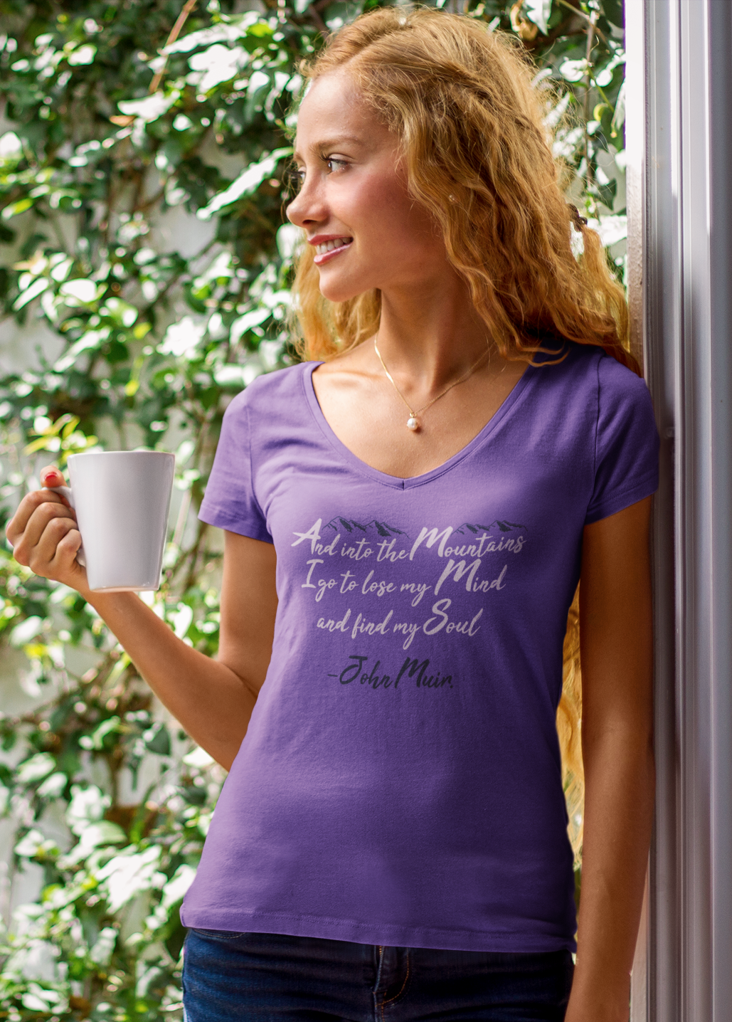 Apparel V-Neck T-Shirt / Purple / XS And Into The Mountains I Go! V-Neck - Purple Frost