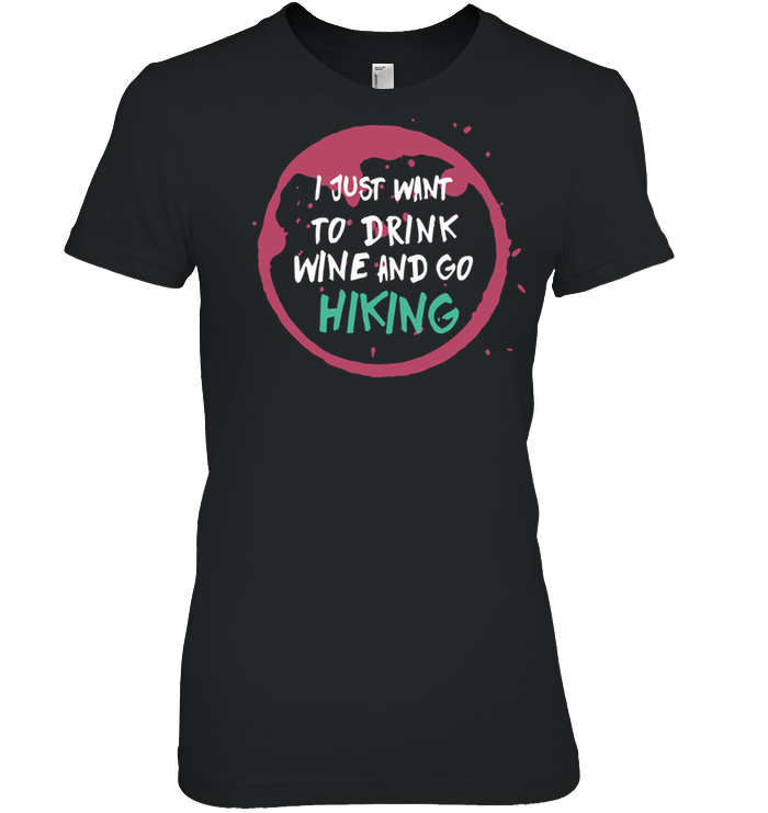 Apparel Womens Relaxed Fit Tee / Black / S Drink Wine And Go Hiking
