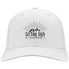 Hats Personalized Twill Cap / White / One Size Getting High on Mountains Cap