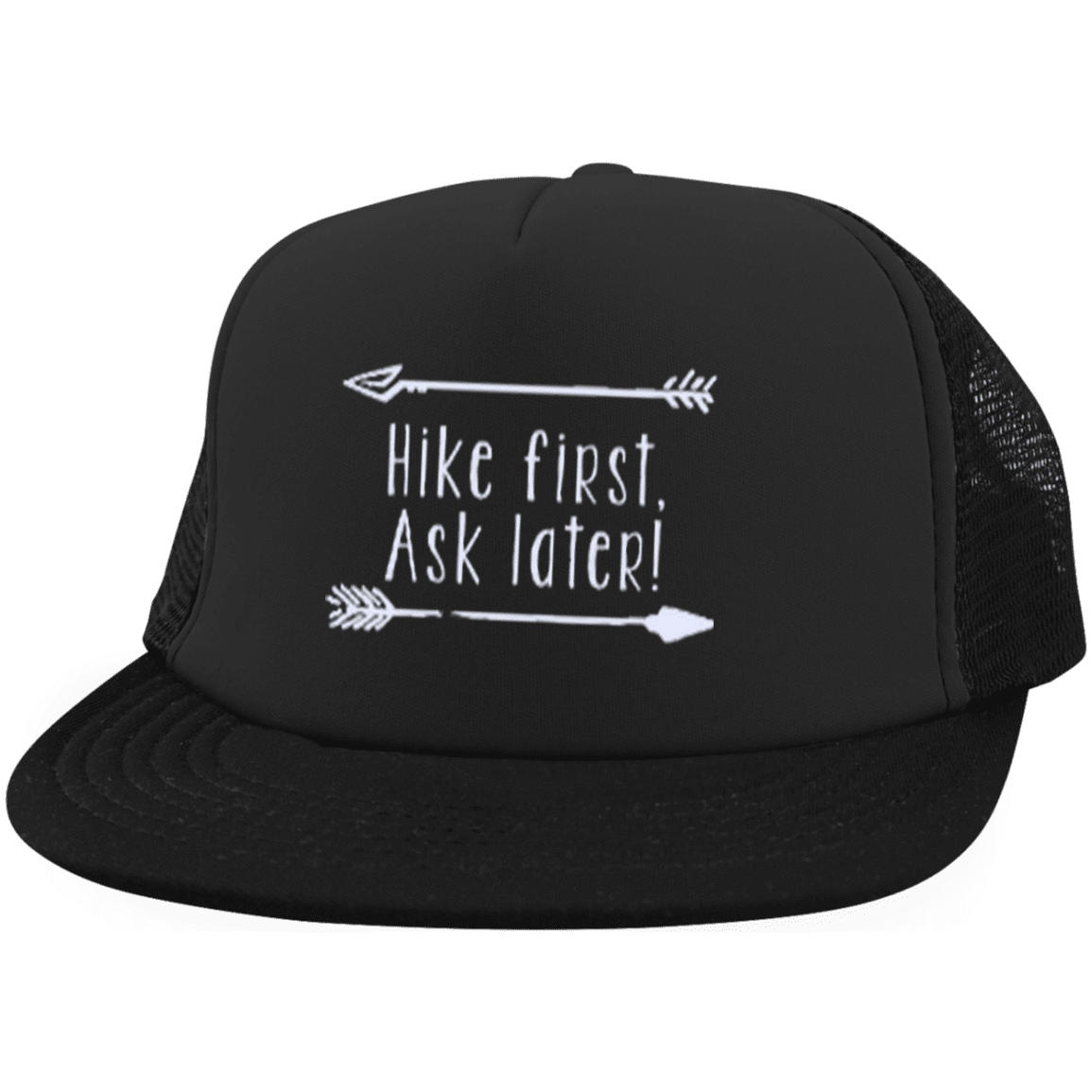 Hats Trucker Hat with Snapback / Black / One Size Hike First, Ask Later! Trucker Hat