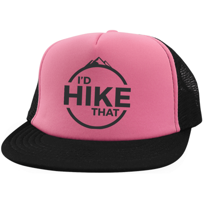 Hats Trucker Hat with Snapback / Neon Pink/Black / One Size I'd Hike That Trucker Hat