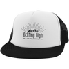 Hats Trucker Hat with Snapback / White/Black / One Size Getting High on Mountains Trucker Hat