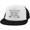 Hats Trucker Hat with Snapback / White/Black / One Size Hike First, Ask Later! Trucker Hat