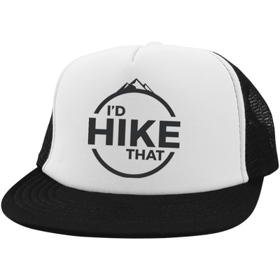 Hats Trucker Hat with Snapback / White/Black / One Size I'd Hike That Trucker Hat