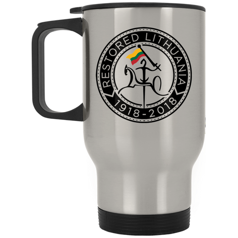 Restored 100 (Vytis Black Circle) -- Suvenyrai Stainless Steel Travel Mug