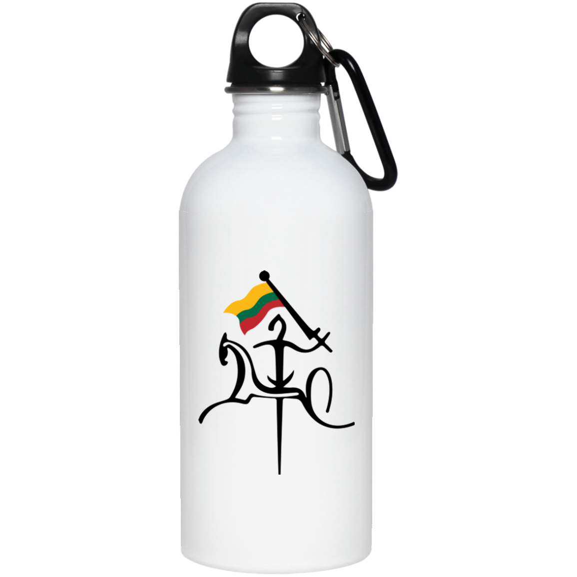 Vytis w/ Flag -- Stainless Steel Water Bottle