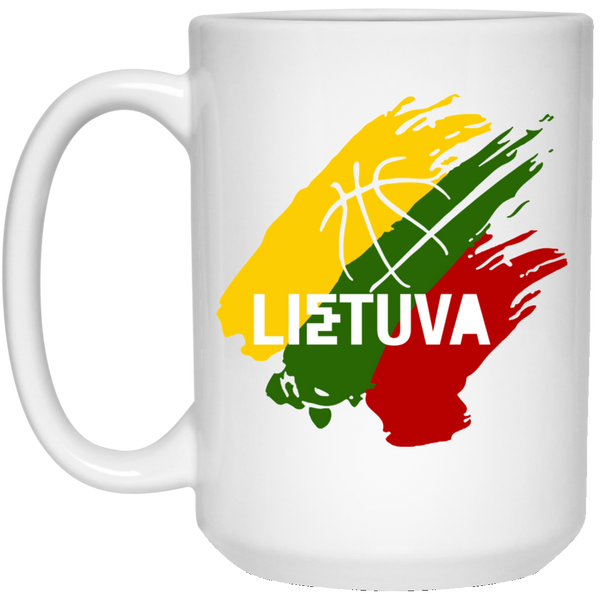 Lietuva Basketball - Lithuania Strong Collection 15 oz. White Mug