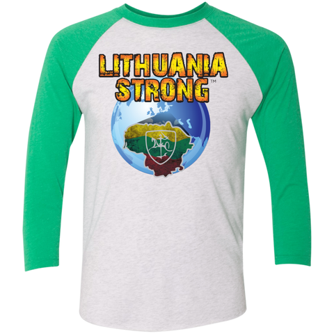 Lithuania Strong -- Guys/Gals 3/4 Sleeve Soft Raglan Baseball Jersey