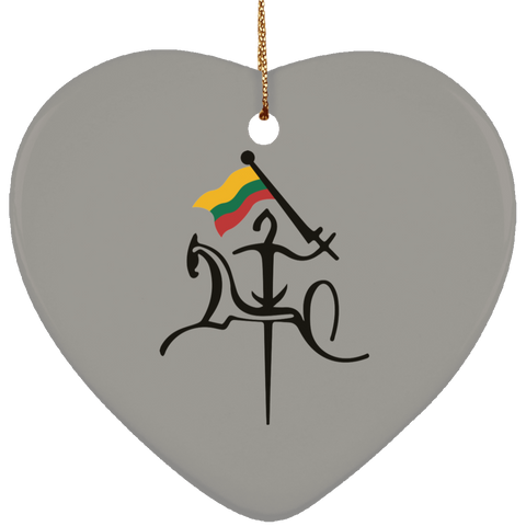 Vytis w/ Flag Ornament - Ceramic Heart Ornament