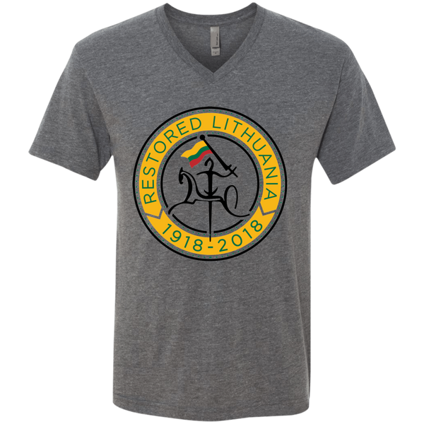Restored 100 (Vytis Yellow Circle) -- Vyrams Premium V-Neck T-Shirt