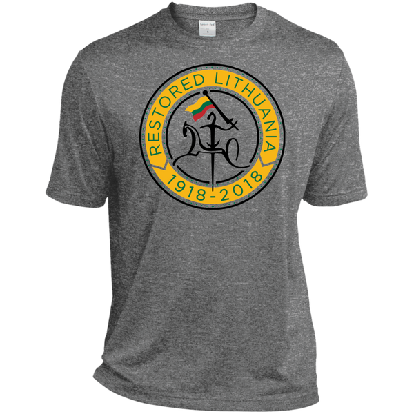 Restored 100 (Vytis Yellow Circle) -- Vyrams Tall Heather Dri-Fit Moisture-Wicking