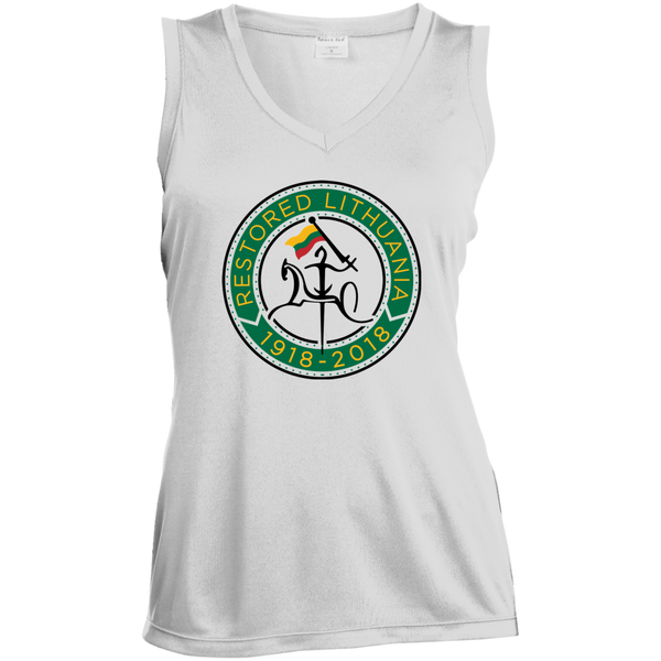 Restored 100 (Vytis Green Circle) -- Moterims Sleeveless Moisture Absorbing V-Neck