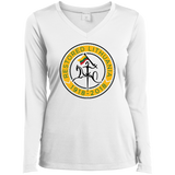 Restored 100 (Vytis Yellow Circle) -- Moterims Long Sleeve Performance V-Neck