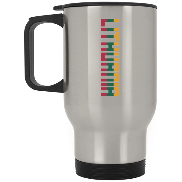 Lithuania Vertical -- Stainless Steel Travel Mug