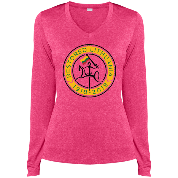 Restored 100 (Vytis Yellow Circle) -- Moterims Heather Dri-Fit Long Sleeve V-Neck