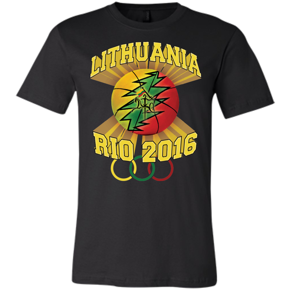 Rio Olympic Basketball -- Bella+Canvas Guys/Gals Short-Sleeve Tee T-Shirt