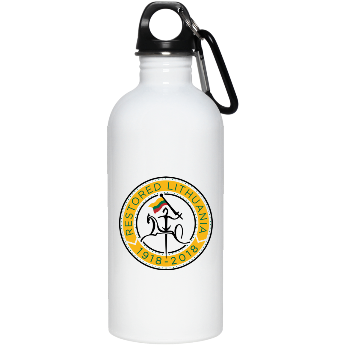 Restored 100 (Vytis Yellow Circle) -- Suvenyrai Stainless Steel Water Bottle