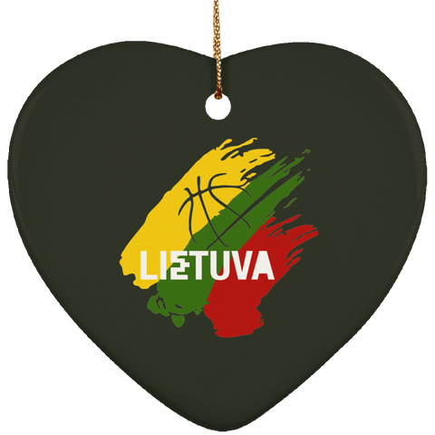 Lietuva Ornament - Ceramic Heart Ornament