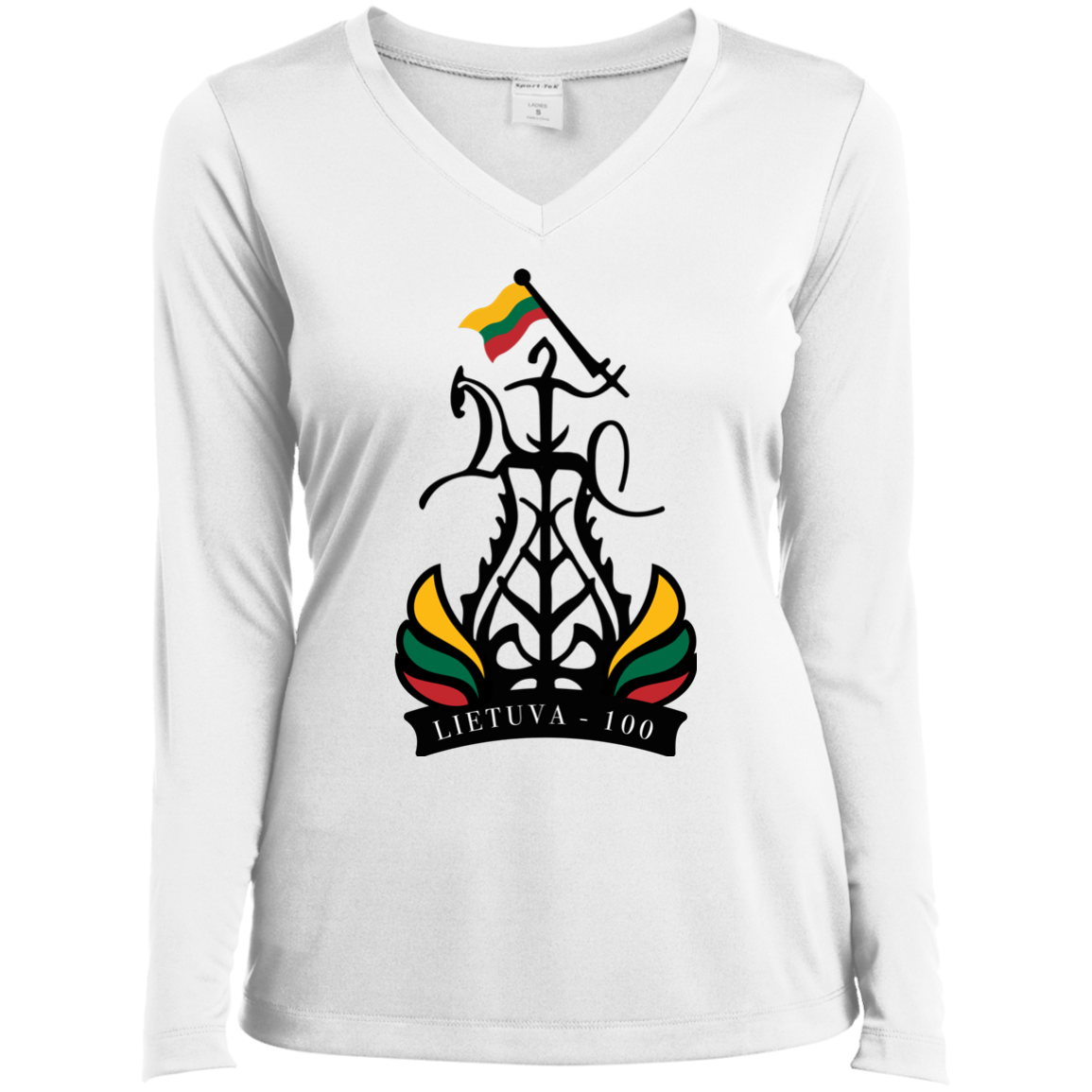 Restored 100 (Lietuva 100) -- Moterims Long Sleeve Performance V-Neck