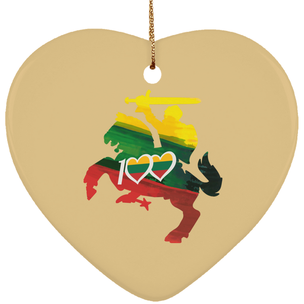 Knight 100 Ornament - Ceramic Heart Ornament