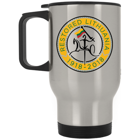 Restored 100 (Vytis Yellow Circle) -- Suvenyrai Stainless Steel Travel Mug