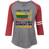 Made in Lithuania -- Gals 3/4 Sleeve Vintage Heather V-Neck Baseball Jersey