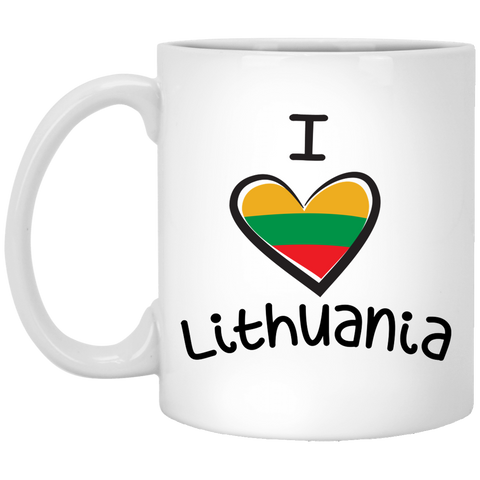 I Love Lithuania - Lithuania Strong Collection 11 oz. White Mug