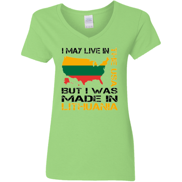 Made in Lithuania -- Gals V-Neck Jersey T-Shirt