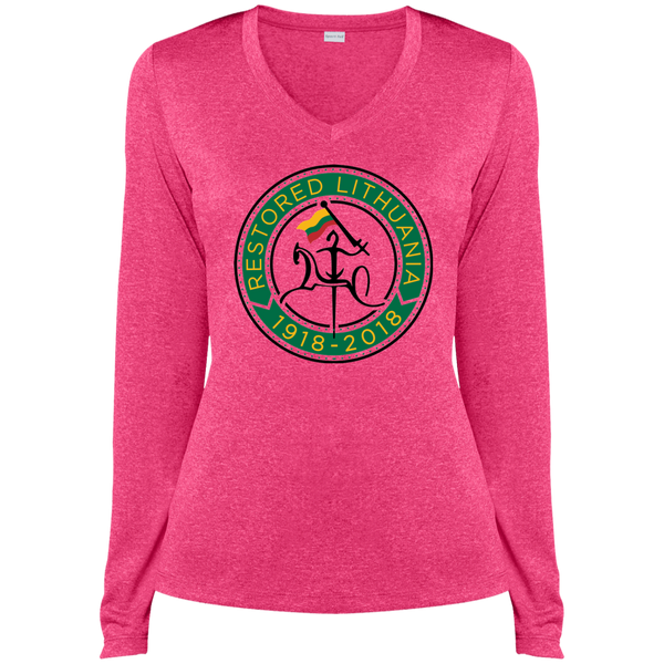 Restored 100 (Vytis Green Circle) -- Moterims Heather Dri-Fit Long Sleeve V-Neck