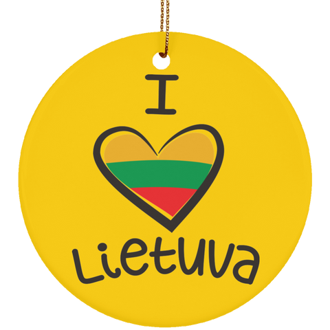 I Love Lietuva Ornament - Ceramic Circle Ornament