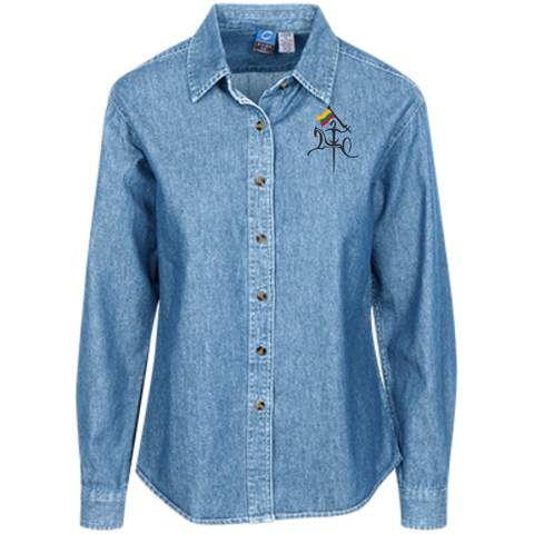 Vytis w/ Flag -- Gals Long Sleeve Denim Button-Down
