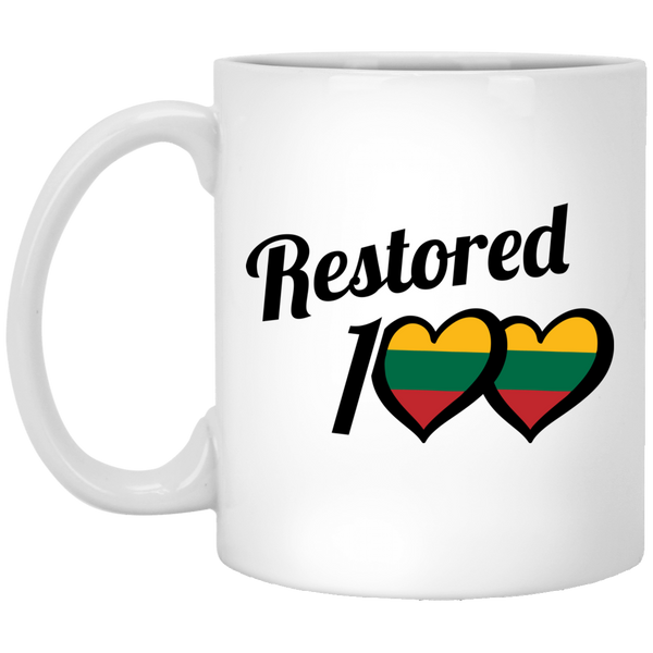 Restored 100 Love - Lithuania Strong Collection 11 oz. White Mug