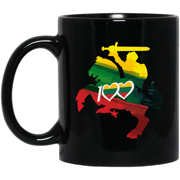 Horse Knight 100 - Lithuania Strong Collection 11 oz. Black Mug