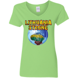 Lithuania Strong -- Gals V-Neck Jersey T-Shirt