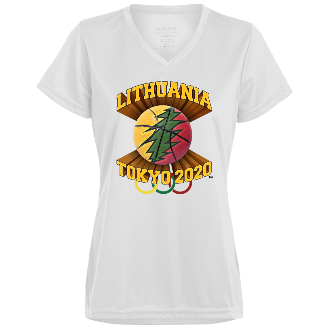 Lithuania Basketball Tokyo 2020 - Gals Wicking V-Neck T-Shirt