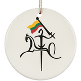Vytis w/ Flag Ornament - Ceramic Circle Ornament
