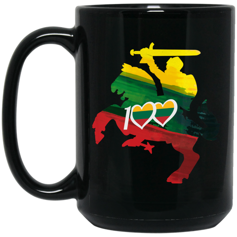 Horse Knight 100 - Lithuania Strong Collection 15 oz. Black Mug