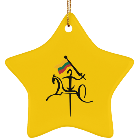 Vytis w/ Flag Ornament - Ceramic Star Ornament