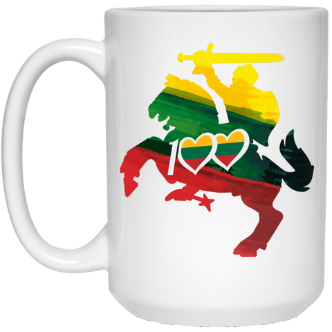 Horse Knight 100 - Lithuania Strong Collection 15 oz. White Mug