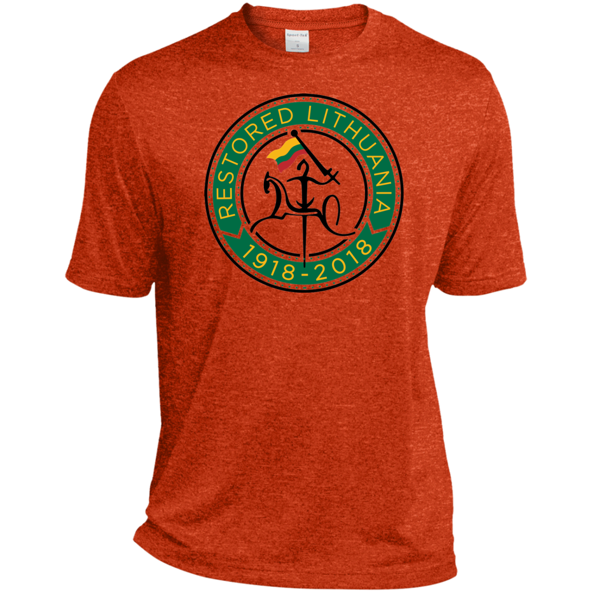 Restored 100 (Vytis Green Circle) -- Vyrams Heather Dri-Fit Moisture-Wicking
