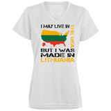 Made in Lithuania -- Gals Performance Dri-Fit Wicking V-Neck T-Shirt