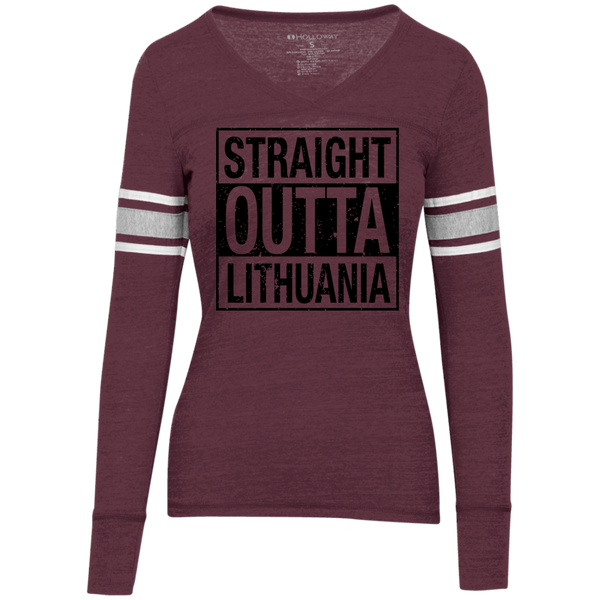 Outta Lithuania -- Juniors Girls Vintage V-Neck Tee
