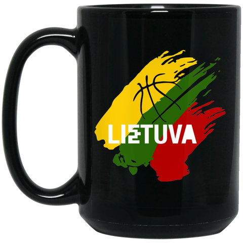 Lietuva Basketball - Lithuania Strong Collection 15 oz. Black Mug