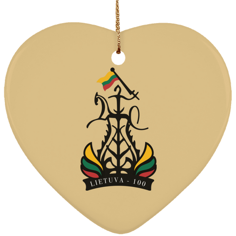 Lietuva 100 Ornament - Ceramic Heart Ornament